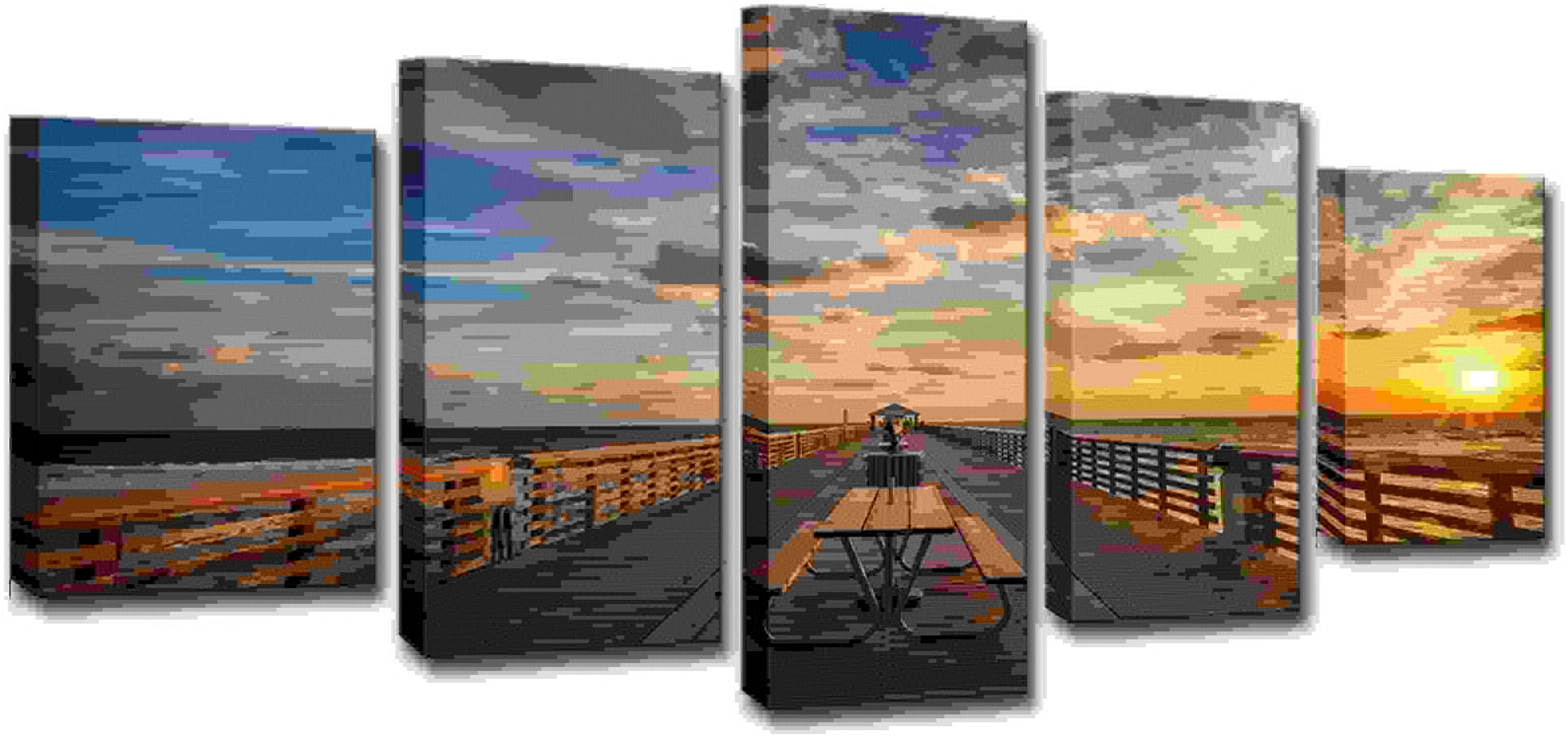 punto de venta en línea Canvas Canvas Canvas Wall Art, Moderno HD Impreso Canvas Pictures Room Home Decor, 5 Piezas Nubes Sunset Boardwalk Pintura Wall Art Bridge Poster,Frame,M  el mas de moda
