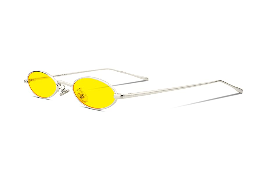 FEISEDY Vintage Small Sunglasses Oval Slender Metal Frame Candy Colors B2277