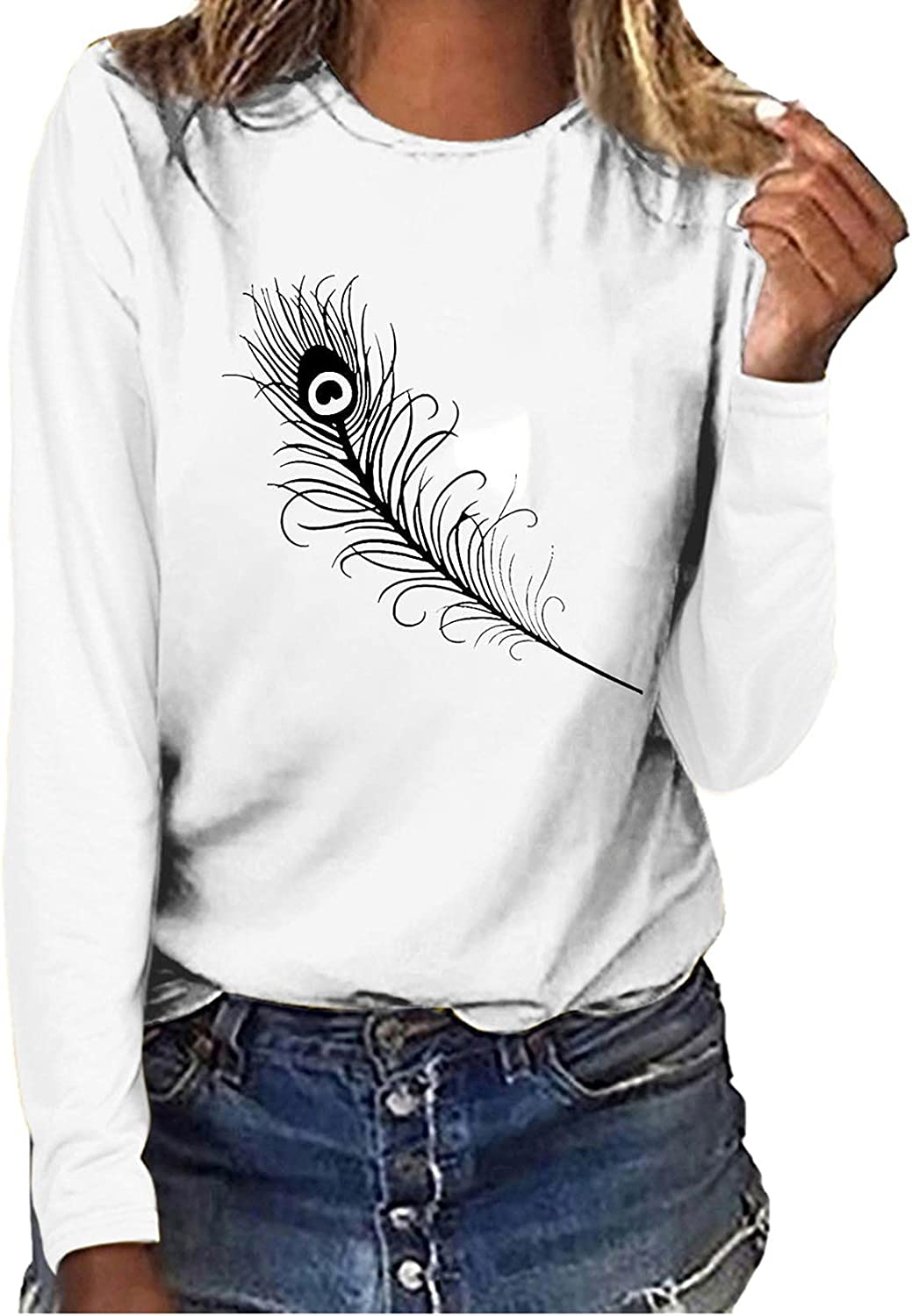 Women Long Sleeve Tops O-Neck Feather Printing Casual Loose Blouse Tops Comfortable Pullover Sweatshirt Tee