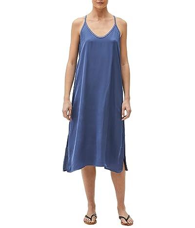 Michael Stars Blaire Washed Satin Soft V-Neck Racerback Slip Dress