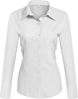 Womens Long Sleeve Cotton Basic Simple Button Down Shirt Slim Fit Formal Dress Shirts