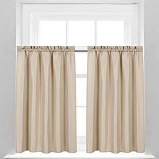 Valea Home Waffle Weave Textured Short Curtains for Bathroom Water Repellent Shower Window Covering Rod Pocket Half Window Curtains Kitchen Tiers 45 inch Length, Taupe, Set of 2
