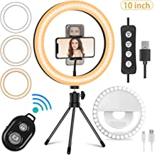 "Mansso 10"" LED Ring Light Set - Rechargeable Selfie Ring Light Clip & Remote Shutter & Desktop Tripod Stand & Phone Holder for Live Stream/Makeup/YouTube with 3 Light Modes & 10 Brightness Level"