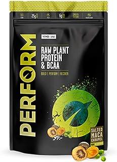 Vivo Life Perform - Polvo de Proteína Vegano   Mezcla de Proteína de Guisante y Cáñamo con BCAA  Sin Gluten ni Soja - En Bolsa Compostable (Maca y Caramelo Salado) - 504g