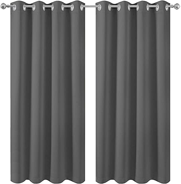 Anjee Grey Blackout Curtains 45 Inches Long Light Blocking And Noise Reducing Grommet Blackout Draperies 2 Panels For Kitchen 52 By 45 Inch Gray