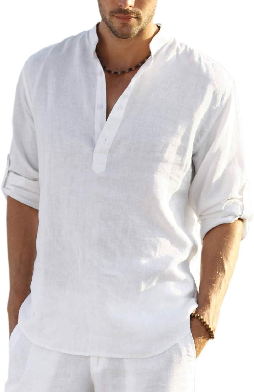 Tampa Mall Ranking TOP12 COOFANDY Men's Cotton Linen Henley Shirt Casu Long Hippie Sleeve
