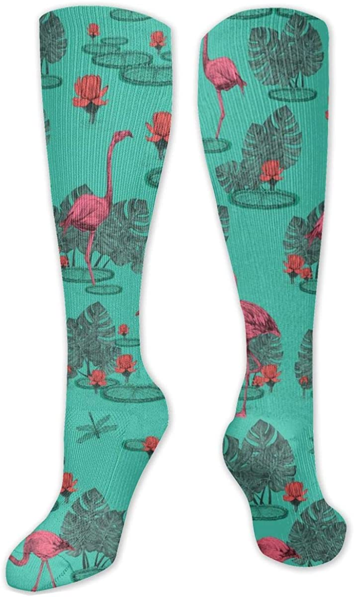 Tropical Palm Leaf Flamingo Knee High Socks Leg Warmer Dresses Long Boot Stockings For Womens Cosplay Daily Wear