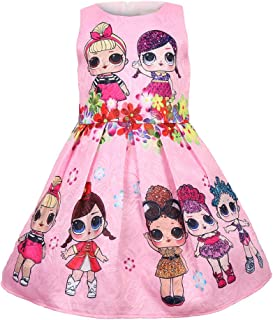 WNQY Girls Surprise Princess Costume Doll Digital Print Party Gown Dress for Doll Surprised