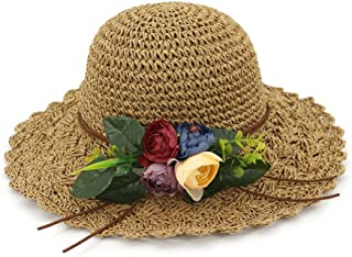 Summer hat 2019 Hot Summer Lady Sun Hat Flower Decoration Graceful Fashion Knitted Stubble Hat Visor hat (Color : Coffee, Size : 56-58CM)