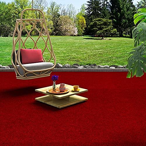 Snapstyle Komfort Kunstrasen Rasenteppich mit Noppen Kingston Rot in 19 Größen