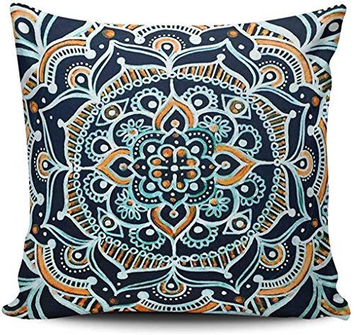Throw Pillow Case Decoración del hogar Azul Marino y Naranja Bohemia Zen Mandala Square Funda de Almohada Personalizada Funda de cojín Impreso a Doble Cara