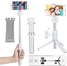 Selfie Stick - VANZAVANZU Extendable Selfie Stick Phone Tripod Monopod Detachable Bluetooth Wireless Remote Shutter for iPhone x xr xs max 6 6s 7 8 Plus Samsung Galaxy s8 s9 s10 j7 Note 9 8 - White
