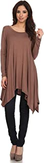 FashionJOA Women's Solid Casual Basic Long Sleeves Asymmetric Hem Knit Tunic Top Tee/Made in USA