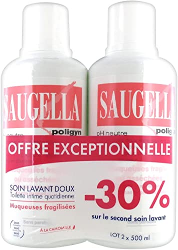 Toilette Intime Quotidienne Poligyn Muqueuses Fragilisees 2x500ml Saugella