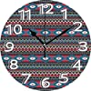 壁掛け時計10インチネイティブアメリカンプリミティブスタイルアステカ民俗ストライプデザインアンティークマヤパターンブラックブルーコーラルサイレントホームオフィスの装飾非カチカチ時計オフィス装飾