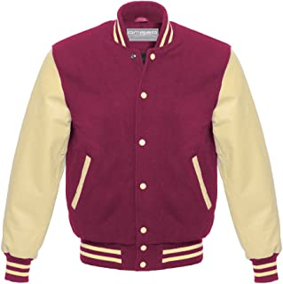 Varsity Letterman Baseball School College University Genuine Leather /& Wool Cream//Navy Green Strips