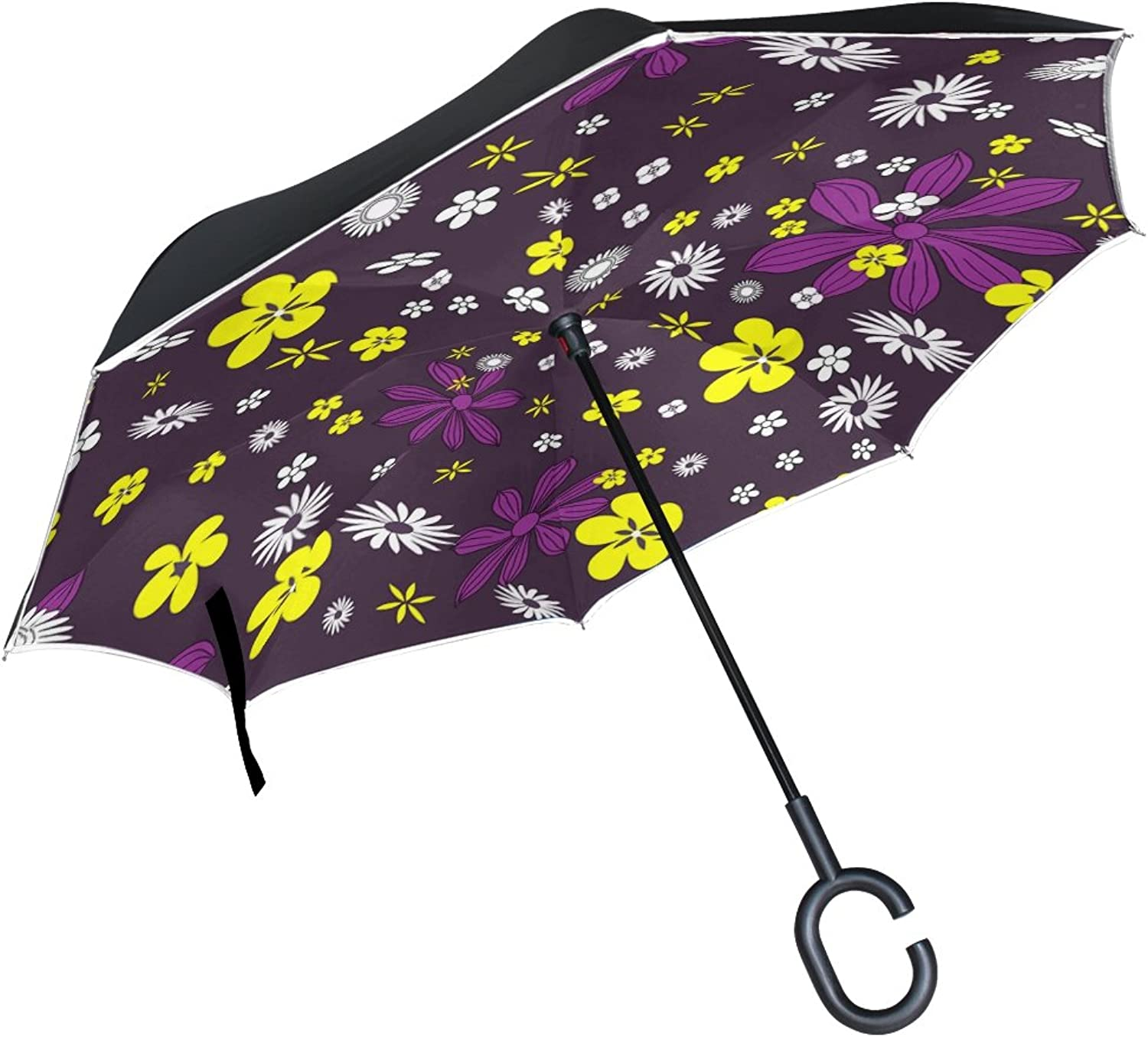 Double Layer Ingreened colorful Design Floral Flowers Pattern Umbrellas Reverse Folding Umbrella Windproof Uv Predection Big Straight Umbrella for Car Rain Outdoor with CShaped Handle