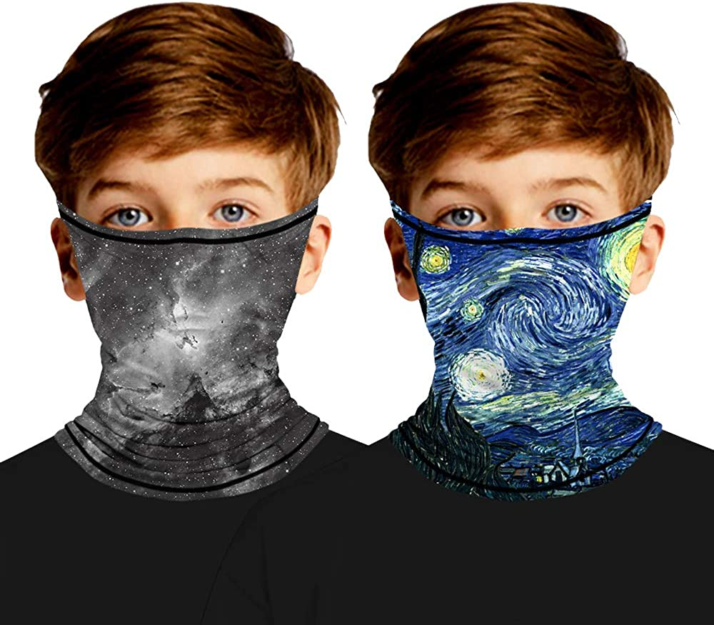 ACTLATI 2pcs Kids Face Mask Bandana with Ear Loops Seamless Balaclava Cooling Rave Bandana Sun Protection for Boys