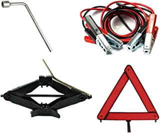 Kit Estepe Para Carro/Macaco Sanfona 2000kg + Chave De Roda 17mm + Triângulo + Cabo Auxiliar
