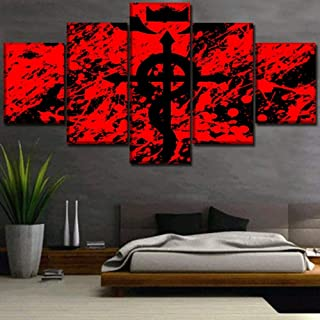 XIAOAGIAO 5 Canvas Prints Canvas Paintings Wall Art Framework Modular Home Decor 5 Pieces Anime Fullmetal Alchemist Pictures Living Room HD Print Poster Paintings on Canvas
