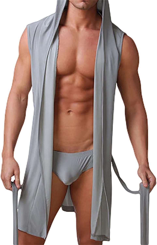 Men Bathrobe Sexy Pajamas Nightwear Nightgown Sleepwear Summer Men's Hooded Bath Robe Men Bathing Gown Plus Size