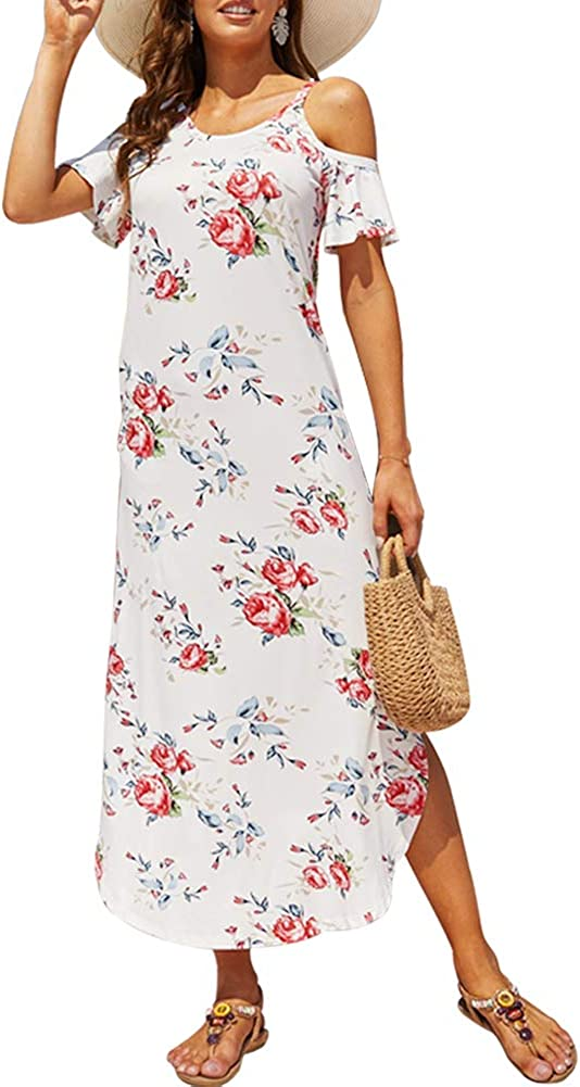 She Women's Summer Maxi Dresses Cold Shoulder Split Loose Short Sleeve Long Beach Dresses with Pocket