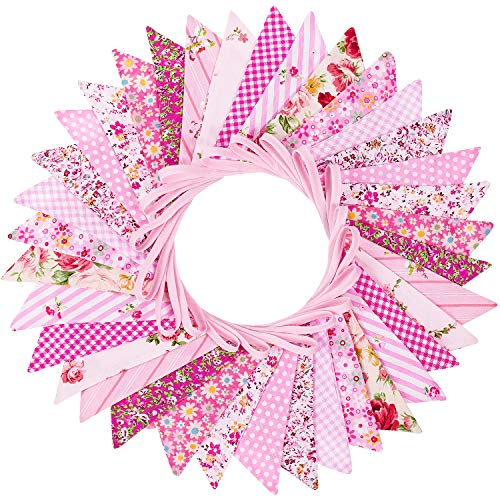 Whaline Fabric Bunting Banner, 36 Pcs Double Sided Flags Garland, 33 Feet Pink Floral Pennants for Wedding Birthday Parties Baby Shower Home Garden Decoration (12 Patterns)