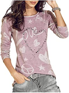 Women's Cotton Tops and Blouses,Casual Long Sleeve Sweatshirt Letter Printed Shirt Pullover Blouse Loose Tops T-Shirt
