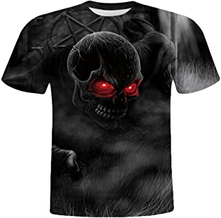 Manga Corta Camiseta para Hombre 3D Moda Estampado Calaveras Personalizadas T-Shirt de Verano Deportivo Casual Cuello Redo...