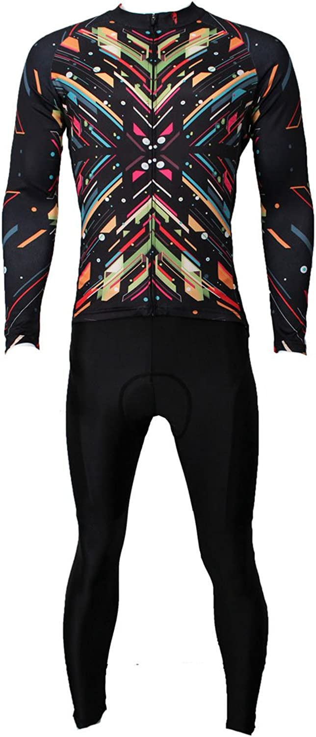 ILPALADINO Men's Cycling Jersey Clothing Set Long Sleeve and 3D Padded Pants Fireworks Black