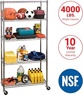 "Seville Classics UltraDurable Commercial-Grade 5-Tier Steel Wire Shelving with Wheels, 36"" W x 18"" D x 72"" H (75"" H with wheels)"