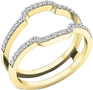 Anillo de oro de 18 quilates con diamantes blancos redondos de 0,25 quilates de 1/4 quilates.