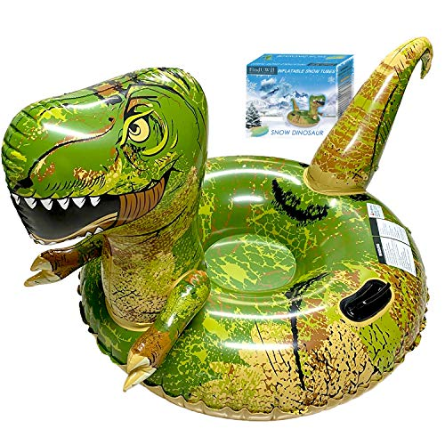 FindUWill Inflatable Dinosaur Snow Tube, 64.9 inch Giant Winter Sled, Reinforced Handles & Double Layer Bottom Sled, Animal T-Rex Snow Sledding for Kids and Adults (Dinosaur)
