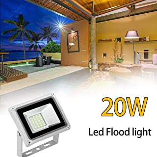 Younar LED Flood Light, 20W 12V Super Bright Security Lights Cool White, Outdoor Indoor Waterproof Floodlight for Yard, Garden, Playground, Basketball Court, 5000lm, 6000K
