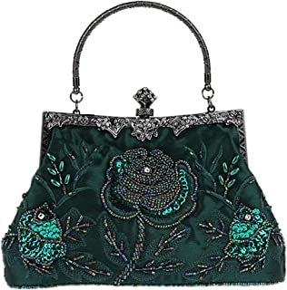 Guozi Damen Retro Clutch Handgemachte Perlen Kupplung Elegante Pailletten Handtasche Stickerei Diagonalpaket Abendtasche Tasche für Hochzeit Party Tanzparty (Grün)