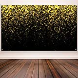 Black and Gold Photo Booth Backdrop, Celebration Lights Backdrop Banner Photo Background for Birthday Party, New Year, Bachelorette, Weddings, Christmas Party Decoration Supplies, 72.8 x 43.3 Inch