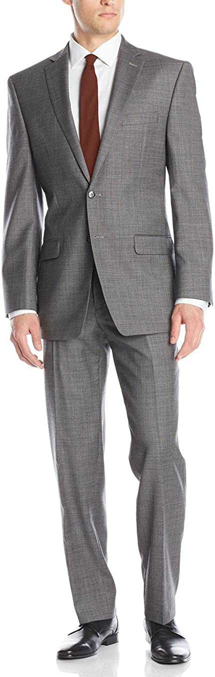 Luciano Natazzi Men's Two Button 2 Piece Suit Set Modern Fit Jacket with Pant