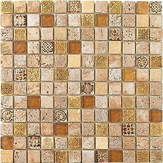 30 x 30 cm Mosaico de Vidrio y Cuarzo en Malla DEC-47082AUO011 Negro 8 mm