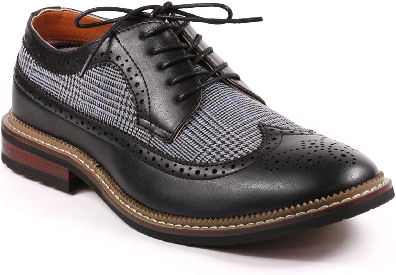 Metrocharm MET525-6 Men's Tweed Perforated Wing Tip Lace Up Oxford Dress shoes