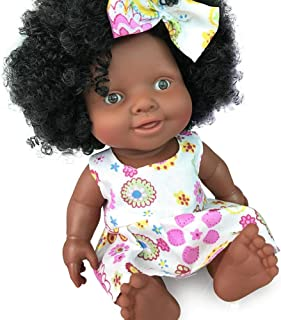 Szseven 10 Pulgadas de Silicona Baby Dolls Reborn Newborn Toy Soft Vinyl & Weighted Body Realista Muñeca Africana Negra para niños pequeños Niños Niñas Regalo de cumpleaños