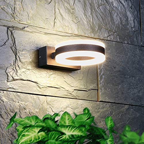 MRFX Círculo cuadrado Moderno impermeable de la lámpara de pared del jardín Balcón Patio soporte de pared aplique de pared de luces LED pasillo arriba y abajo de pared exterior Luz aplique simple y du
