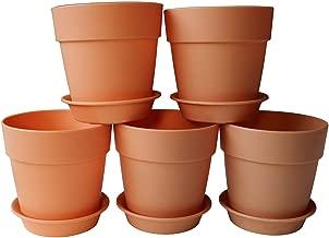 Axe Sickle 3.9x3.5 inch Plastic Planters Small Plastic Plant Pots, Indoor Flower Pot, Plant Pot, Mini Flower Seedlings Nursery Pot, Flower Pot with Pallet (6pcs Brown)