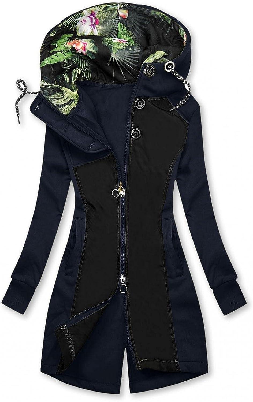 FABIURT Zip Up Sweatshirt for Women,Women's Cute Floral Print Hoodie Long Sleeve Hooded Sweatshirts Pockets Jacket Coat