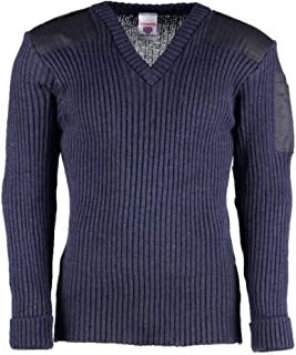 York Woolly Pully Vee Neck Sweater with Patches - Epaulets - Pen Pocket