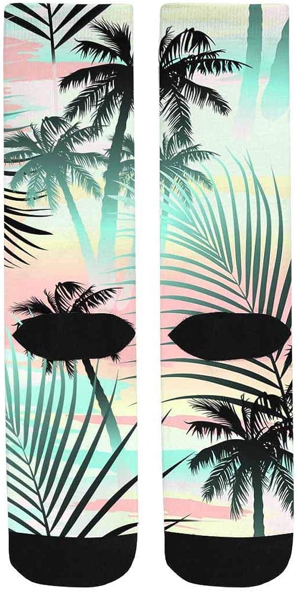 INTERESTPRINT Casual Sublimated Crew Socks Unisex Tropical Summer Palms