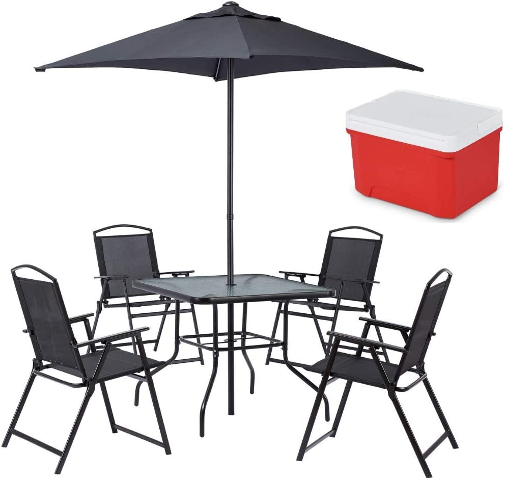 Black Patio Furniture Albany Lane 6-Piece Folding Seating Dining Set and Easy Clean Cool Riser Cooler Bundle Mainstay