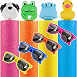 TEPSMIGO Water Guns for Kids, 4 Pack Foam Water Squirt Guns with 4 Pack Kids Sunglasses for Party Favors, Water Toys for Kids and Adults for Swimming Pool Backyard Fun Summer Party