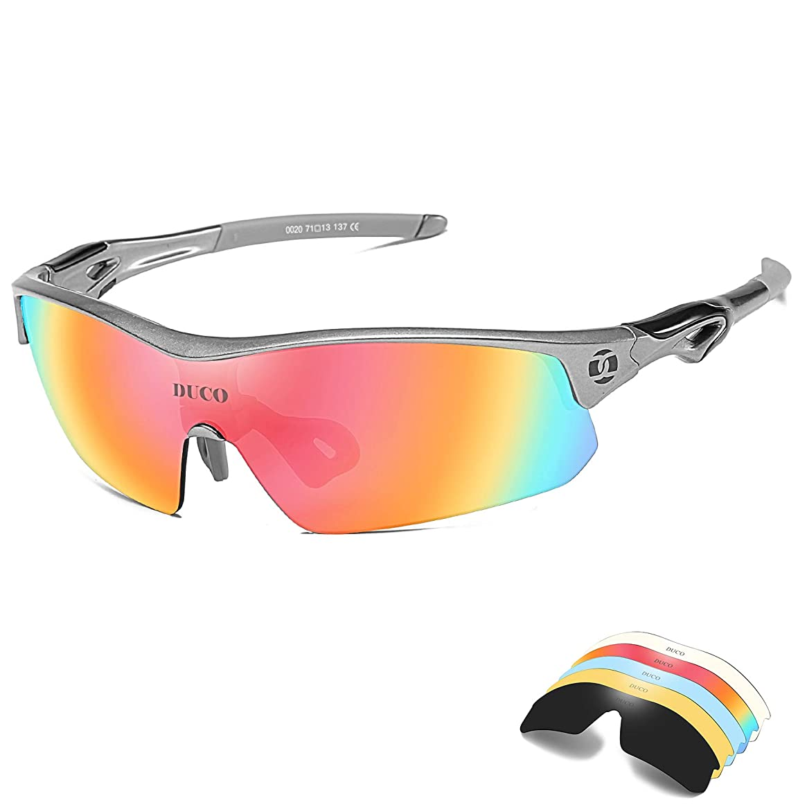 DUCO Polarized Sports Cycling Sunglasses for Men with 5 Interchangeable Lenes for Running Golf Fishing Hiking Baseball 0020