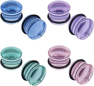 4 Pairs Glass Ear Gauges Mushroom Single Flare Plugs Tunnels Ear Lobe Stretching Piercing 4G-5/8 inches