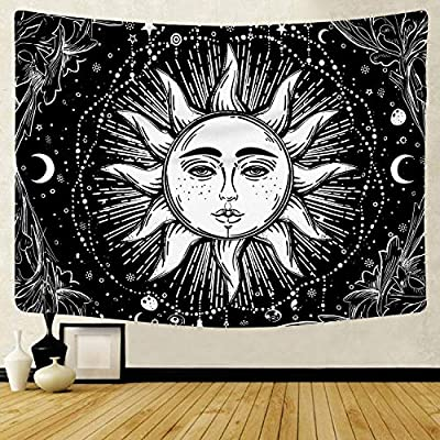 "Tapestry Wall Hanging Tapestries Black & White Wall Blanket Normal Size 51.2""x 59.1"" polyester Art Tapestries for Living Room Dorm Bedroom Home (Black Sunshine)"